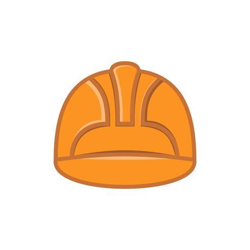 icona piana del casco di sicurezza del lavoro vettore