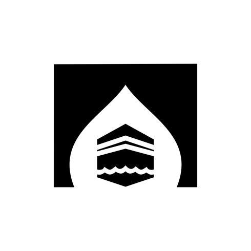 disegno dell'icona del glifo kaaba vettore
