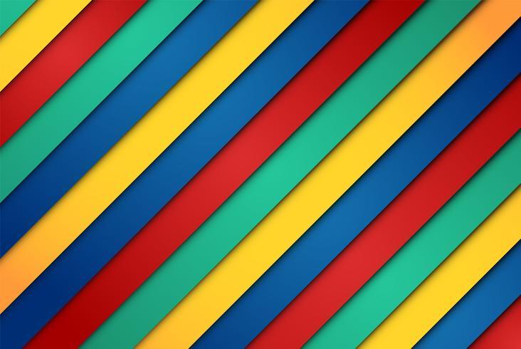 Realistici fogli rossi, verdi, blu e gialli vettore