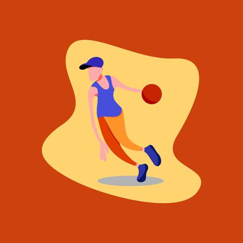 Illustrazione vettoriale di un ragazzo giocatore di pallacanestro che indossa un cappello blu, camicia blu e pantaloni arancioni.