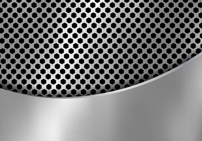 Priorità bassa d'argento astratta del metallo fatta dalla struttura del modello di esagono con la lamiera di ferro della curva. Geometrico in bianco e nero. vettore