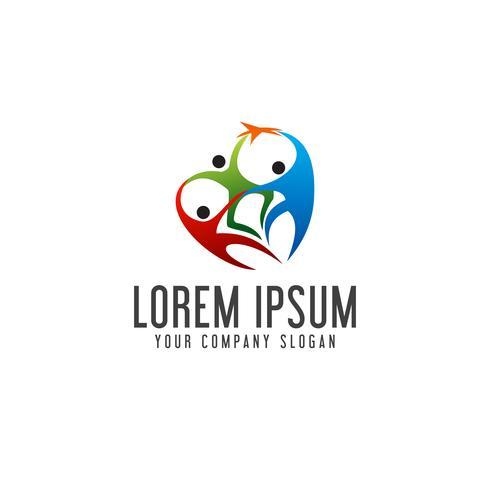 Loghi di persone di lavoro di squadra. associazione successo logo design concep vettore