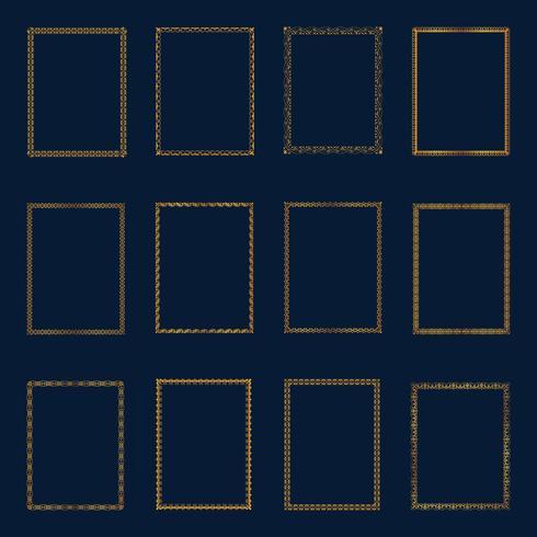 Set di cornici e bordi dorati di lusso. Metta le linee eleganti dell'ornamento del modello delle strutture dorate per il ristorante, la sovranità, il boutique, l'hotel, l'araldico, i gioielli, la moda e l'altra illustrazione di vettore