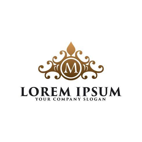 emblema floreale vintage di lusso con la lettera M, ristorante dell'hotel rea vettore