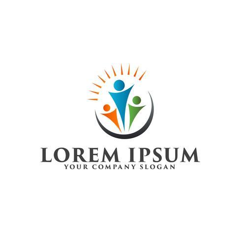 logo della gente di lavoro di squadra di collaborazione. concetto di educazione logo design vettore