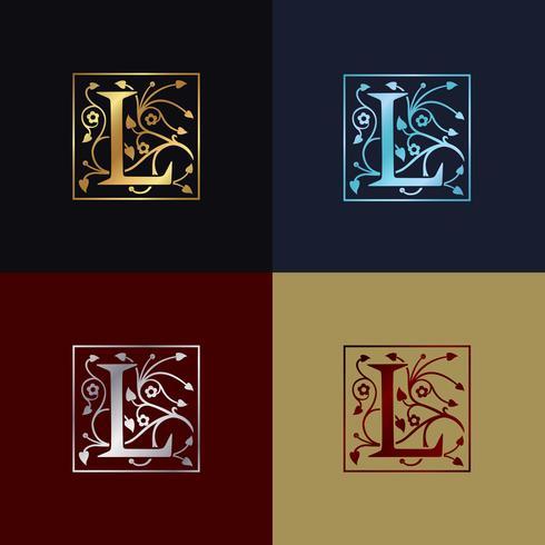 Logo decorativo della lettera L vettore