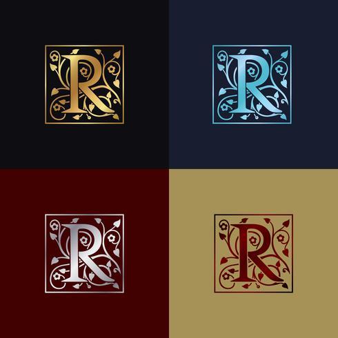 Logo decorativo della lettera R. vettore