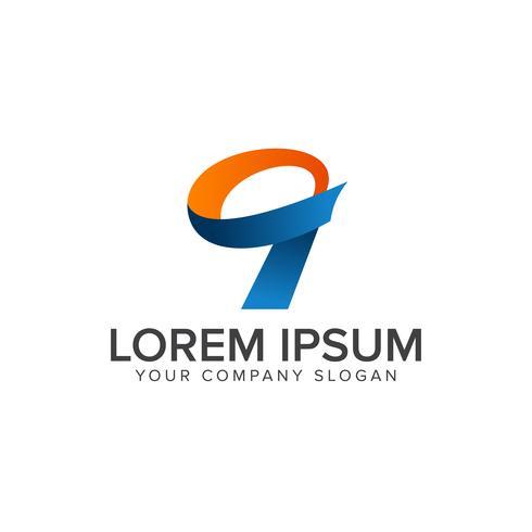 modello di concetto di design logo numero 9 vettore