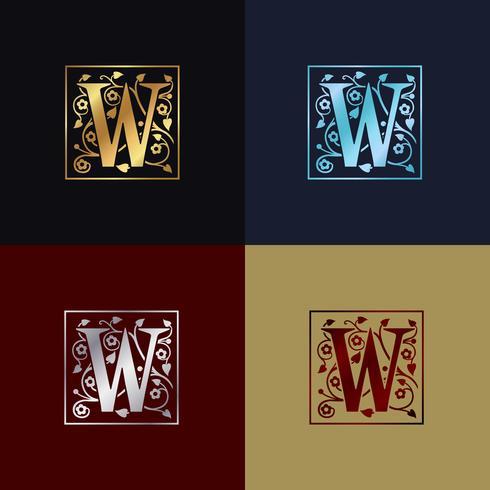 Logo decorativo della lettera W vettore