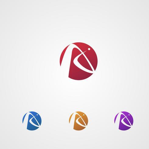 lettera un logo in cerchio logo design concept template vettore