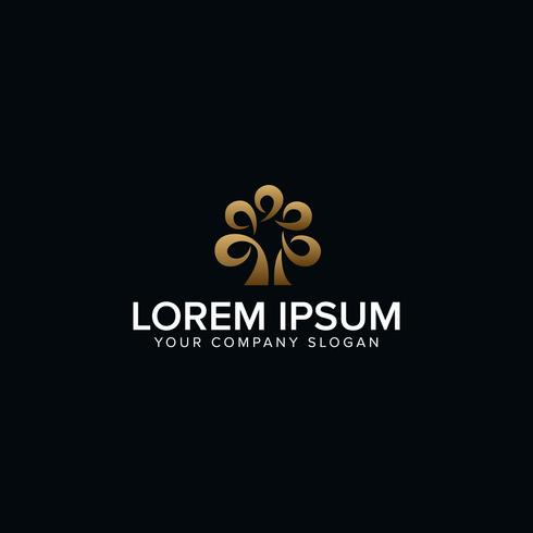 Modello di lusso albero Logo astratto disegno vettoriale