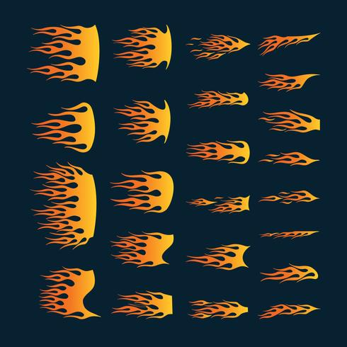 Set di fiamme in vinile pronto. Ottimo per la grafica dei veicoli e la maglietta d vettore