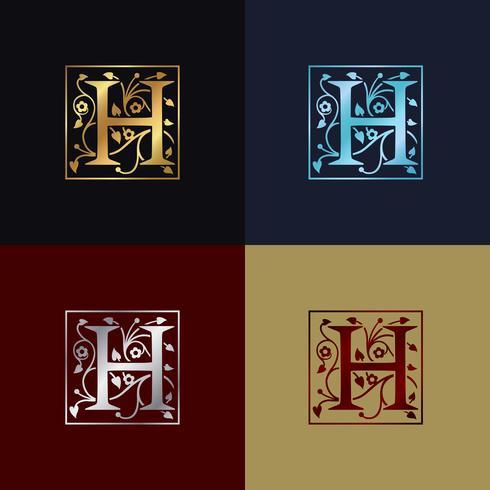 Logo decorativo della lettera H. vettore