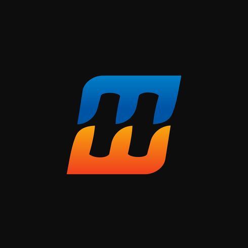 lettera H, E Logo. modello di concetto di velocità logo design vettore