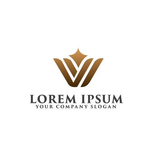 lettera di lusso W logo design concept template vettore