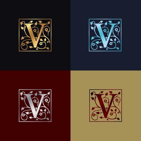 Logo decorativo della lettera V vettore