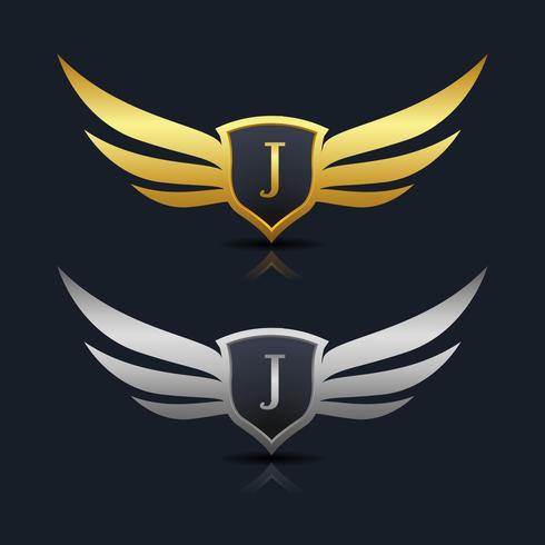 Wings Shield Lettera J Logo modello vettore