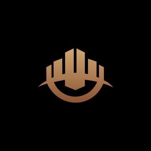 costruzione del modello di concetto di design del logo. Constructio architettonico vettore