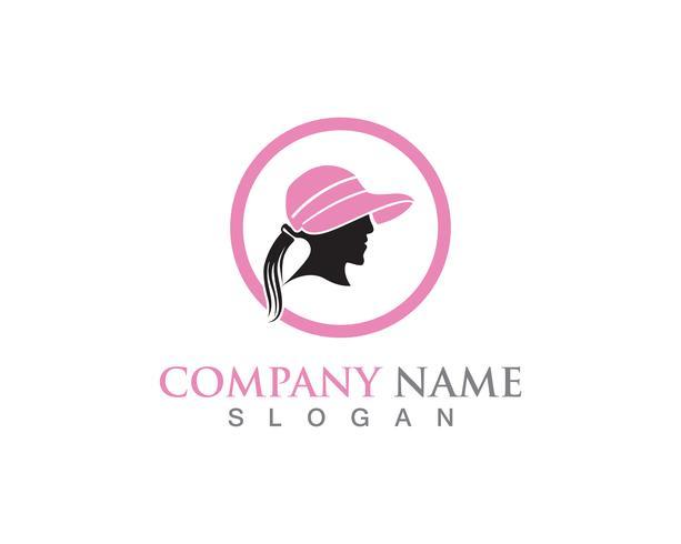 Colore nero di logo di simboli di vettore della donna del cappello