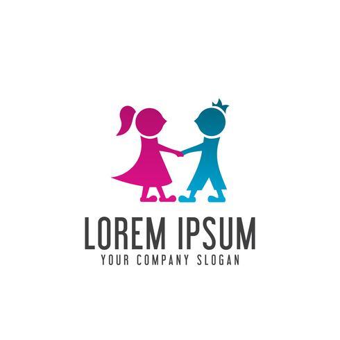 coppia persone logo design concept template vettore