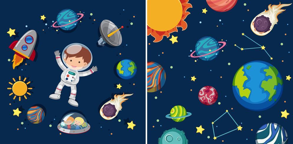 Due scene spaziali con pianeti e astronauti vettore