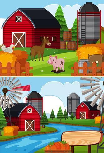 Due scene di fattoria con animali e fienili vettore