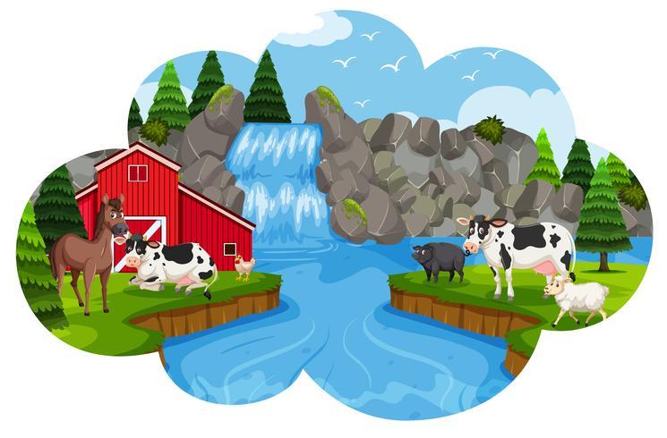 Una fattoria rurale in natura vettore