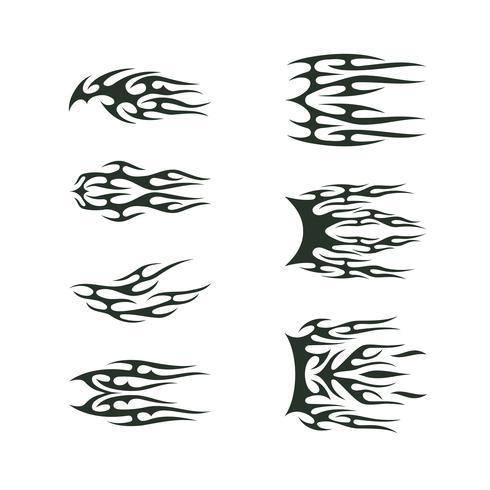insieme di tatuaggi tribali. disegno dell'illustrazione di vettore del totem di tatoo della fiamma