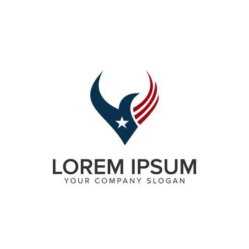 modello di concetto di disegno di logo di uccello dell'america vettore