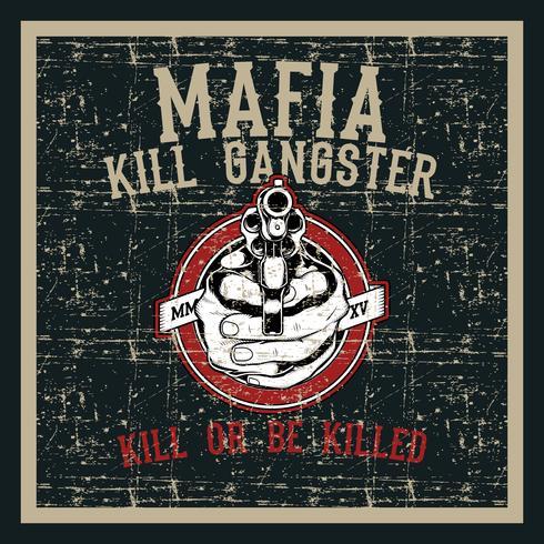 pistola di manipolazione del cranio di stile del grunge dell'annata con il vettore del disegno della mano del testo