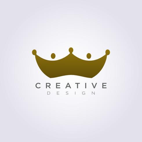 La corona del modello Logo Logo di simbolo dell'illustrazione di progettazione dell'illustrazione di vettore del regno