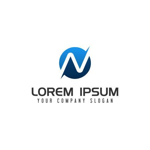 modello di concetto di disegno di lettera N logo vettore