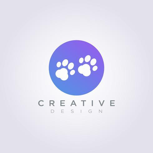 Modello di Logo di simbolo di clipart di progettazione dell'illustrazione di vettore di orma del cane animale
