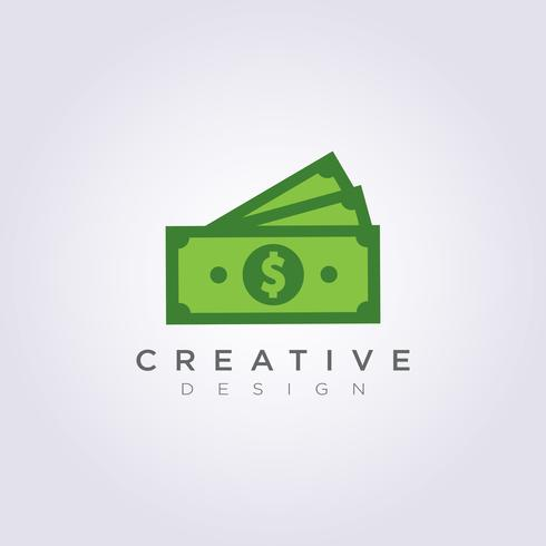 Modello di Logo di simbolo di clipart di progettazione dell'illustrazione di vettore dei soldi del dollaro