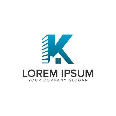 Modello di concetto di disegno di marchio di lettera K immobiliare reale. completamente modificabile vettore