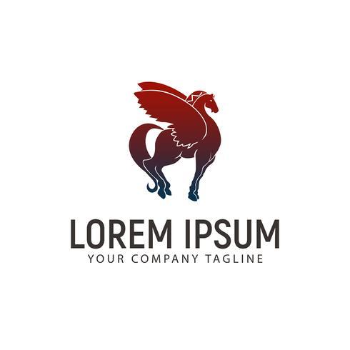 modello di concetto di design logo cavallo alato vettore