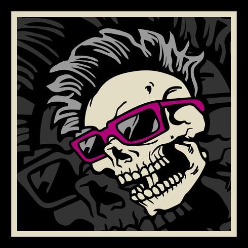 Cranio di hipster con acconciatura, baffi e barba. Etichetta vintage. Design di stampe per t-shirt vettore
