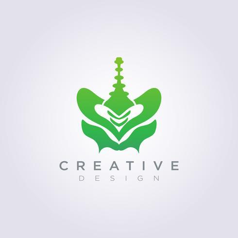 Modello di Logo di simbolo di clipart di progettazione dell'illustrazione di vettore dell'osso pelvico