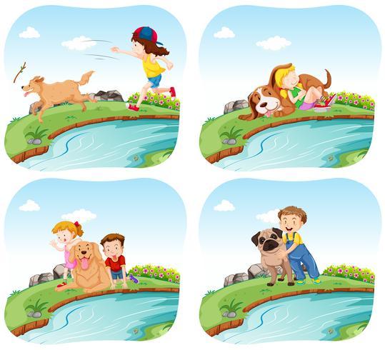 Quattro scene con bambini e cani vettore