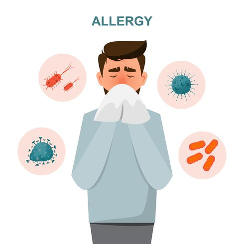concetto di assistenza sanitaria. l'uomo si ammala di sintomi allergici vettore