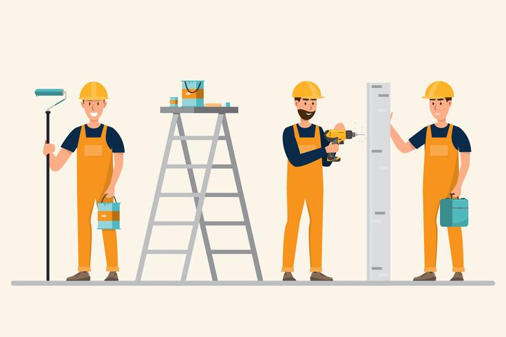architetto, caposquadra, ingegnere edile in diverse opere vettore