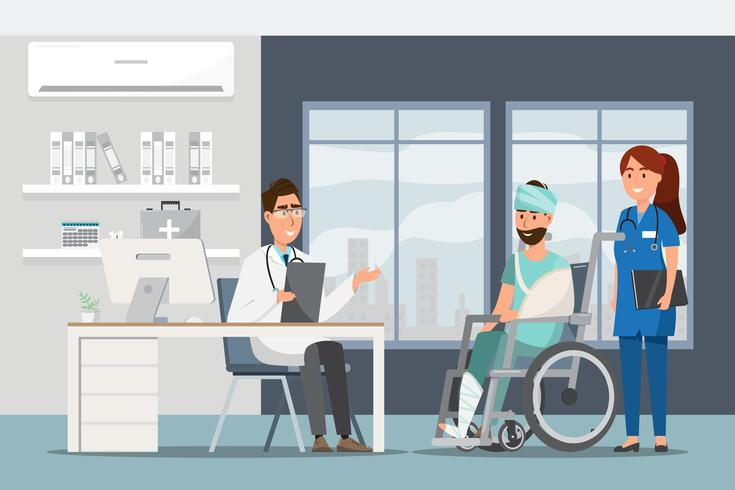 Concetto medico con medico e pazienti in cartone piatto al corridoio dell'ospedale vettore