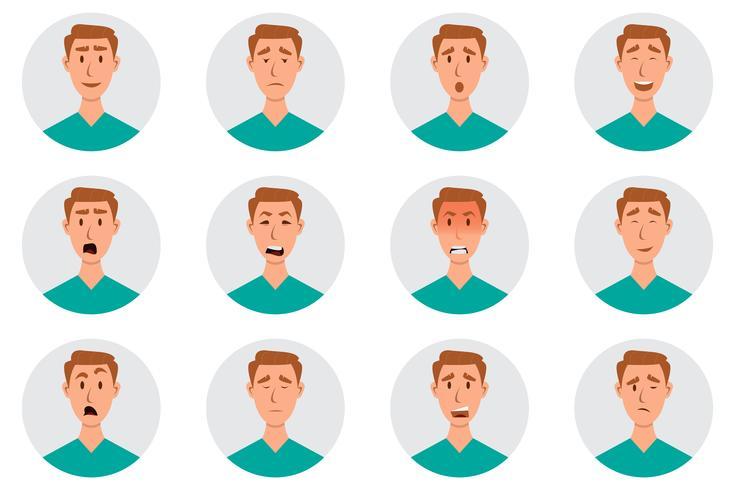 Insieme di emozioni facciali maschili. personaggio emoji uomo con espressioni diverse vettore