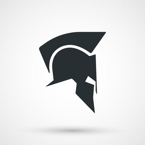 Icona del casco spartano, silhouette. Greco, gladiatore, legionario, simbolo guerriero vettore