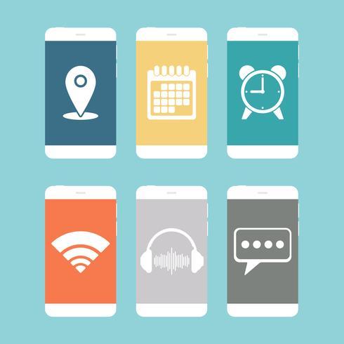 Smartphone con vari design piatto icona vettore