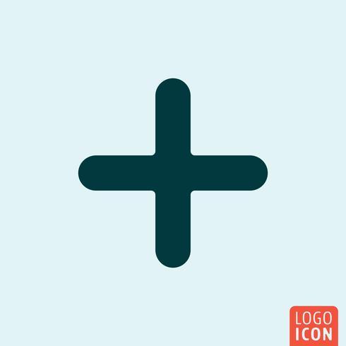 Icona Plus. Design icona minimale positivo vettore