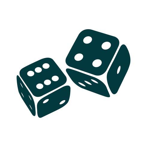 Due dadi di gioco isolati vettore