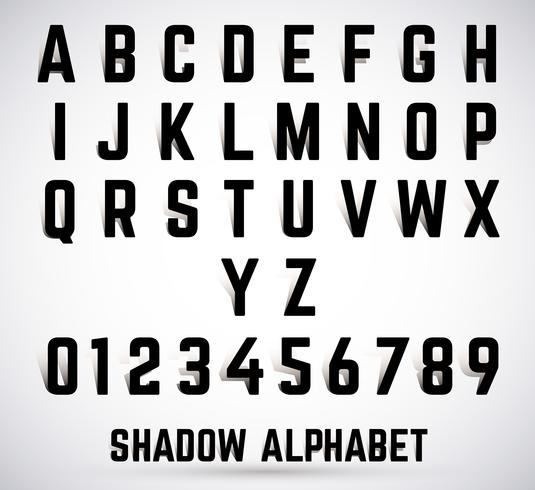 Font shadow alfabeto vettore