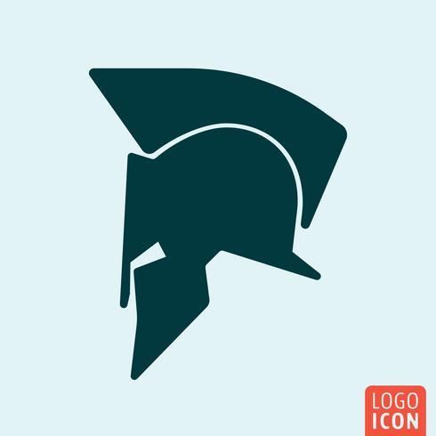 Icona del casco spartano. Logo del casco Spartan. Simbolo del casco spartano. Design icona minimale vettore