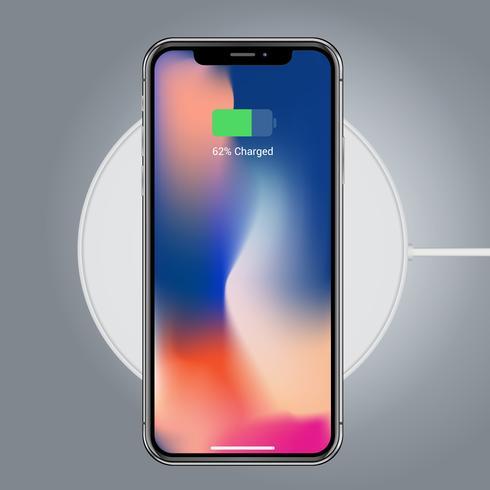 Mockup di dispositivo realistico con caricabatterie per smartphone vettore